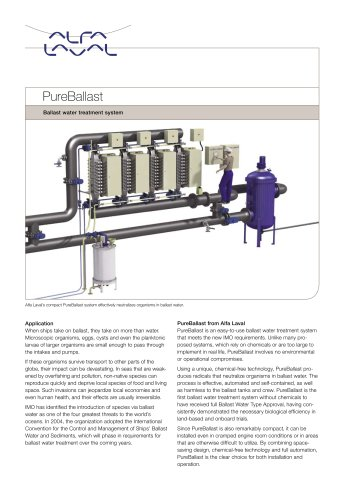 Product leaflet: PureBallast - Ballast water treatment system
