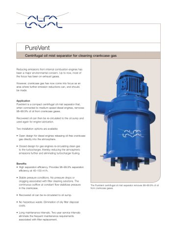 Product leaflet: PureVent - Centrifugal oil mist separator for cleaning crankcase gas