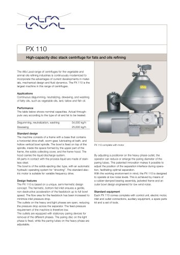 PX 110 Disc stack centrifuge