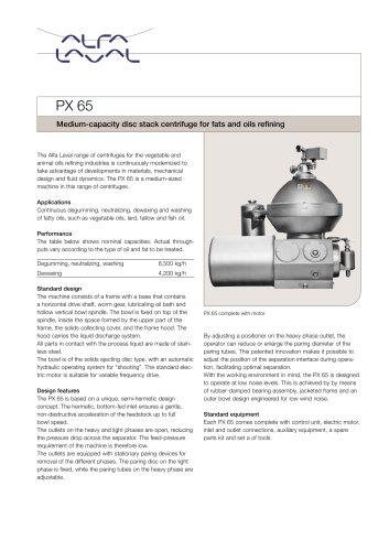 PX 65 Disc stack centrifuge