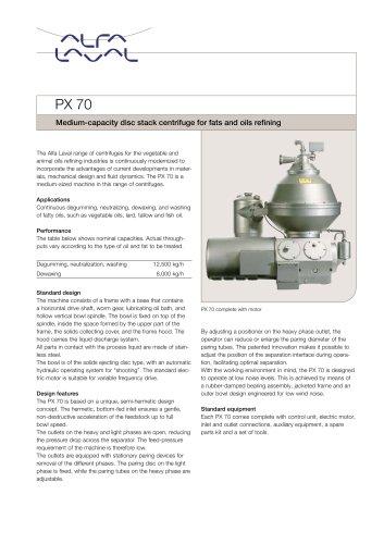PX 70 Disc stack centrifuge