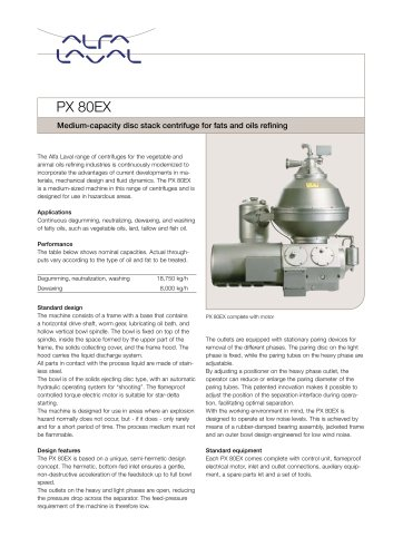 PX 80EX Disc stack centrifuge