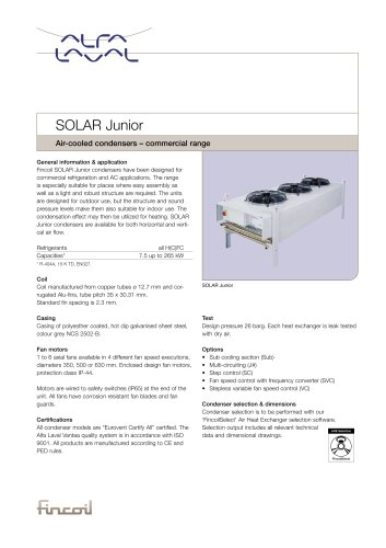 Solar Junior - Air-cooled condensers – commercial range