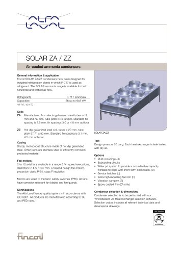 SOLAR ZA / ZZ - Air-cooled ammonia condensers