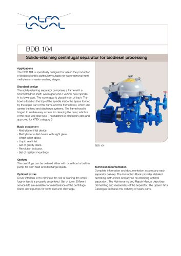 Solids-retaining centrifugal separator for biodiesel processing