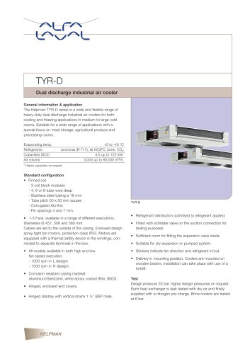 TYR-D - Dual discharge industrial air cooler