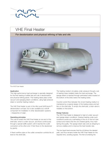 VHE Final heater for deodorization and physical refining of fats and oils