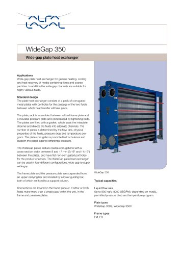 Wide-gap plate heat exchanger
