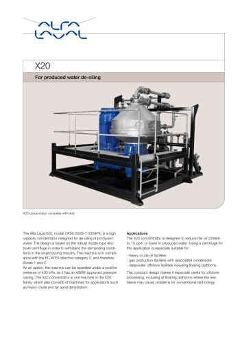 X20 Skid-mounted centrifuge for heavy crude oil dehydration