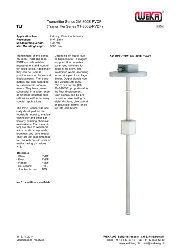 Transmitter Series XM-800E-PVDF