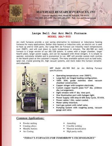 Large Bell Jar Arc Melt Furnace MODEL ABJ - 900