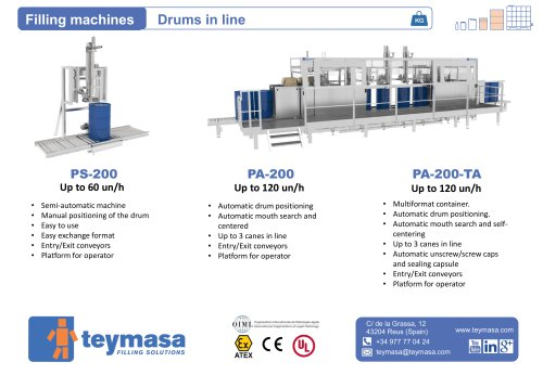 PS-200 / Filling machines Drums in line