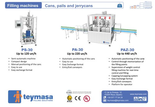 PS-30 / Filling machines Cans, pails and jerrycans