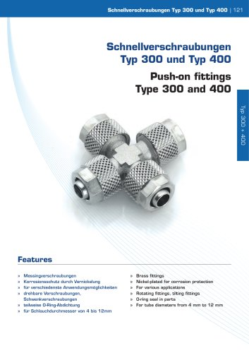 Push-on fittings  Type 300 and 400