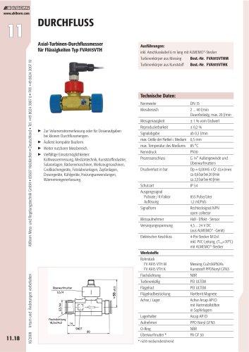 Axial-Turbinen-Durchflussmesser für Flüssigkeiten Typ FVA915VTH