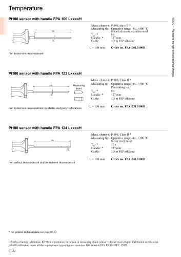 pt100 sensor with handle FPA 106 LxxxxH
