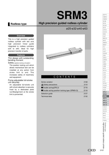 High precision guided rodless cylinder SRM3