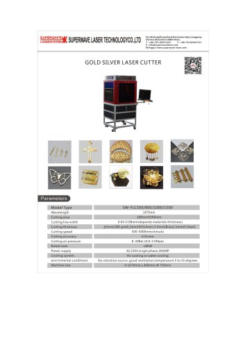 Catalog for gold silver laser cutter