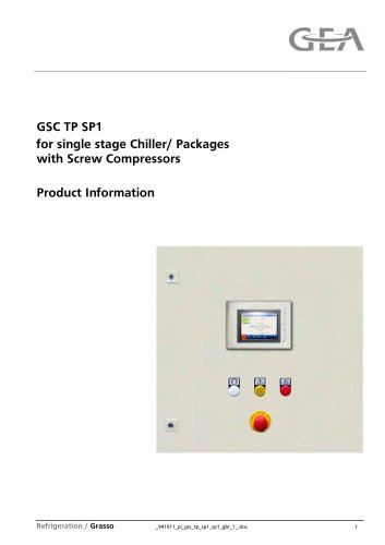 GSC TP for Grasso screw compressors, single stage packages and chillers