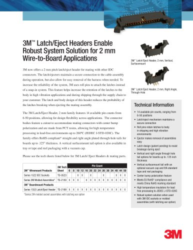 3M? Latch/Eject Headers Enable  Robust System Solution for 2 mm  Wire-to-Board Applications