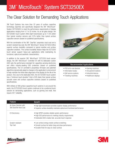 3M? MicroTouch? System SCT3250EX Product Data Sheet
