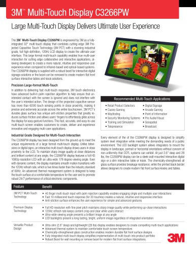 3M Multi-Touch Display C3266PW Product Data Sheet