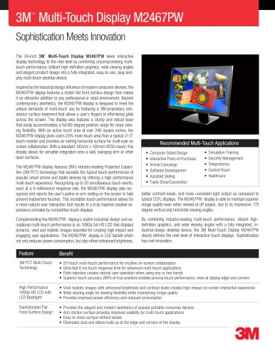 3M Multi-Touch Display M2467PW Product Data Sheet