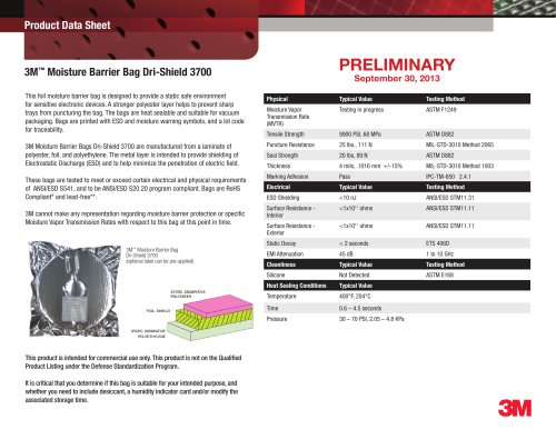 3M(TM) Dri-Shield Moisture Barrier Bag 3700 Data Sheet