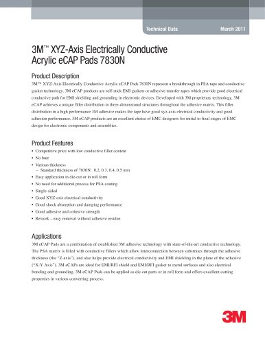 3M XYZ-Axis Electrically Conductive Acrylic eCAP Pads 7830N