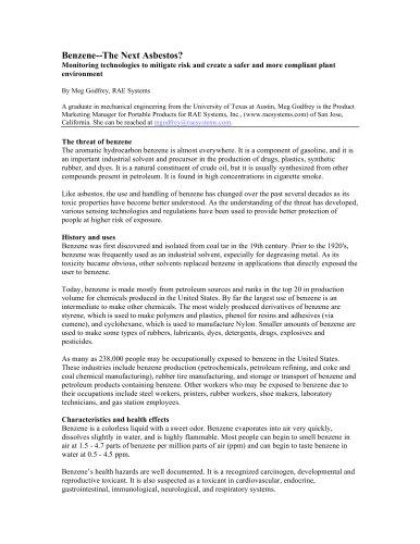 Benzene - The Next Asbestos?