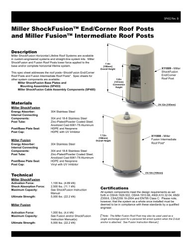 Miller ShockFusion™ End/Corner Roof Posts and Miller Fusion™ Intermediate Roof Posts
