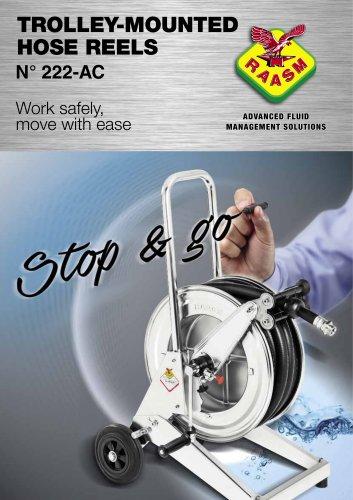 Trolley-mounted hose reels