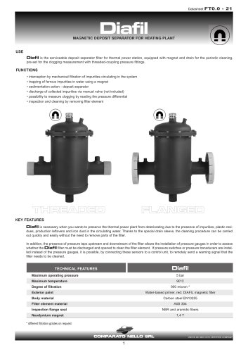 DIAFIL magnetic filter for heating plant