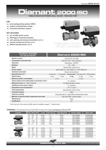 DIAMANT 2000 reduced port brass ball valve