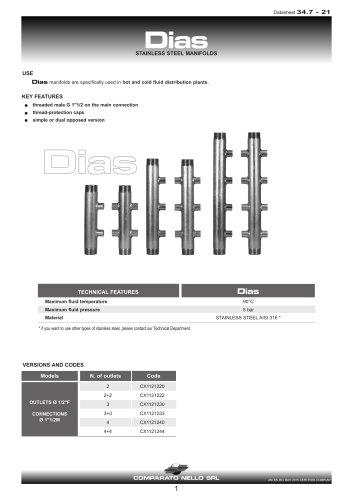 DIAS stainless steel manifolds