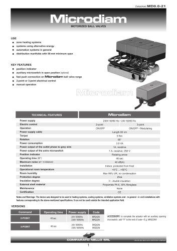 MICRODIAM motorized valve for 50mm distance manifold