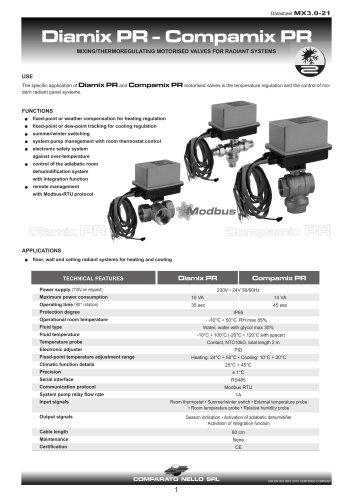 MIX PR RANGE mixing valve for underfloor systems