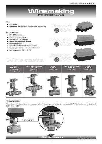 PRO RANGE winery motorized valve
