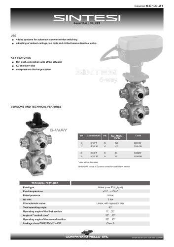 SINTESI 6-way brass ball valve