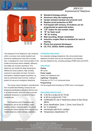 Explosion Proof IECEX Mine Telephone JREX-01