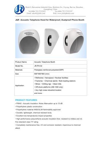 J&R Acoustic Telephone Hood for Waterproof, Dustproof Phone Booth