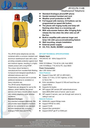 Loud Speaker Mining Telephone With Beacon JR103-FK-HB