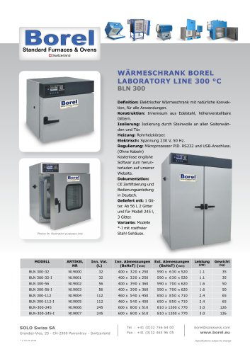 Wärmeschrank Borel Laboratory Line 300 °C BLN 300