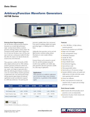 Arbitrary/Function Waveform Generators 4075B Series