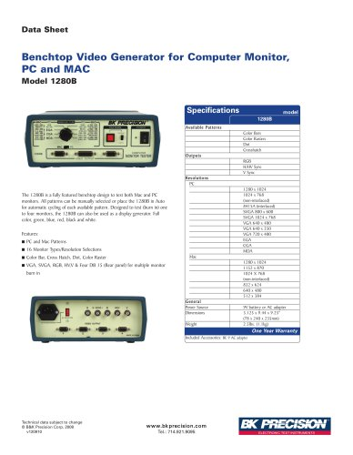 Benchtop Computer Monitor, PC and MAC, Video Generator