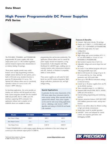 High Power Programmable DC Power Supplies PVS Series