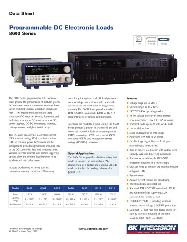 Programmable DC Electronic Loads 8600 Series
