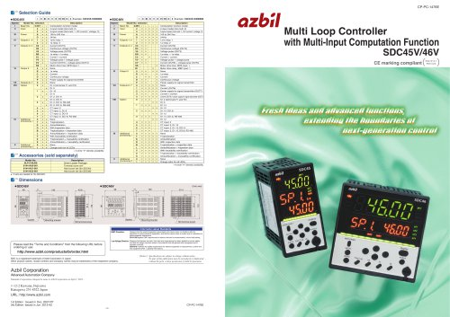 Multi Loop Controller with Multi-input Computation Function SDC45V/46V
