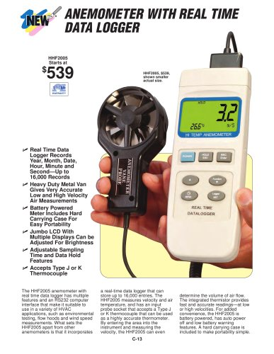 Anemometer with Real-Time Data Logger  HHF2005