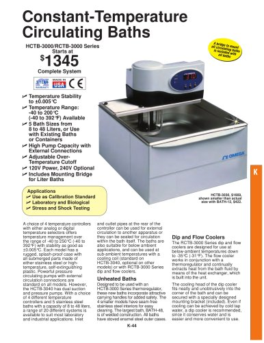 Constant Temperature Liquid Circulating Baths  HCTB-3000 and RCTB-3000 Series